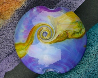 "Handmade Lampwork Bead ""Organic Violet Twists"" SRA Glass Textural Focal Bead ~ OOAK Unique ~ Pinks & Purples"