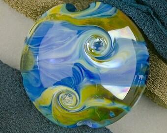 """Handmade Lampwork Beads """"Silver Wave"""" SRA Glass Focal Bead Lentil ~ OOAK Textural Organic Silver Glass Lustre ~ True Blue"""