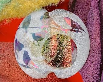 "Lampwork Glass Bead SRA ""Songbird Window"" Handmade Sandblasted Focal Bead Faceted Lentil, Dichroic, Iridescent Lustre ~ Woodland Tones"