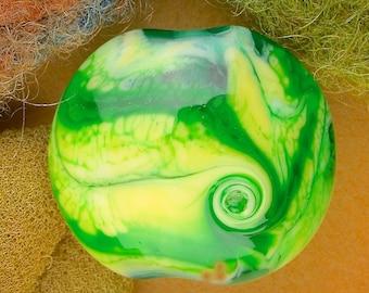 "Handmade Lampwork Focal Bead ""Radioactive Twist"" SRA Glass Bead Lentil ~ OOAK Textural Organic ~ Meadow Shades"