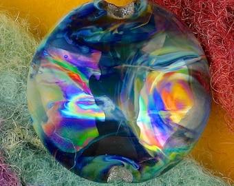 "Handmade Lampwork Focal Bead ""Storm on Jupiter"" SRA Glass Bead Lentil ~ OOAK Organic Silver Glass Lustre ~ True Blue"