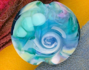 "Handmade Lampwork Glass Beads SRA ""Lakeside Breeze"" Lentil Focal Bead ~ Create Unique Jewellery ~ Sea Tones"