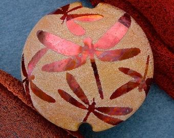 "Handmade Lampwork Glass Bead ""Flight of Dragonflies"" SRA Sandblasted Focal Bead ~ Iridescent Lustre Bead ~ Warm Neutrals"