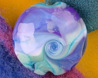 "Handmade Lampwork Glass Beads SRA ""Evening Breeze"" Lentil Focal Bead ~ Create Unique Jewellery ~ Sky & Aqua"