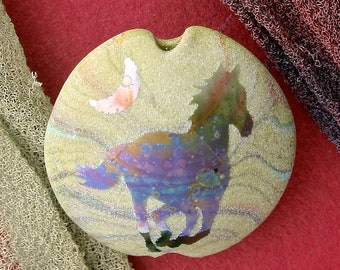 "Handmade Lampwork Focal Bead ""Galloping Home"" SRA Sandblasted Glass ~ Iridescent Lustre Horse Bead ~ Meadow Shades"
