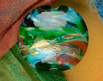 "Handmade Lampwork Focal Bead ""Earth Storm"" SRA Glass Bead Lentil ~ OOAK Organic Silver Glass Lustre ~ Sea Tones"