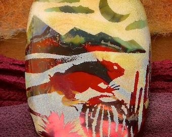 "Lampwork Beads ""Night & Day: Desert Iguana"" Handmade Sandblasted Glass SRA ~ Watercolour Iridescent Lustre Picture Bead ~ Woodland Tones"