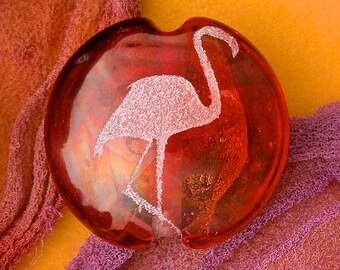 "SRA Lampwork Beads ""Elegant Flamingo"" Handmade Focal Lentil Sandblasted Dichroic and Lustre Glass ~ Warm Neutral"