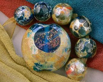 "Lampwork Set of 7 ""Silvery Seas Window"" Handmade Dichroic Glass Lentil & 6 Spheres Focal Bead Set SRA ~ Create Unique Jewellery ~ Sea Tones"