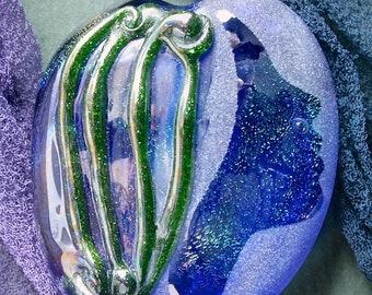 "Lampwork Beads ""Calypso's Song "" Handmade Glass Focal Bead SRA ~ Sandblasted, Dichroic Glass, Texture and Watercolour Lustre ~ Sea Tones"