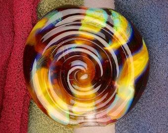 "Handmade Lampwork Bead ""Spiral Spirit Smoke"" SRA Silver Glass Textural Focal Bead ~ OOAK Unique ~ Woodland Tones"
