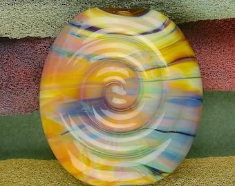 "Handmade Lampwork Bead ""Spiral Spirit Nature"" SRA Silver Glass Textural Focal Bead ~ OOAK Unique ~ Woodland Tones"