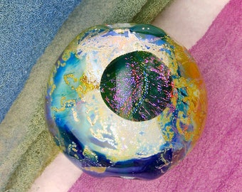 """Lampwork Beads SRA """"Transit of Amalthea"""" Handmade Faceted Dichroic Glass Window Bead with Fine Silver Lustre ~ Pinks & Purples"""