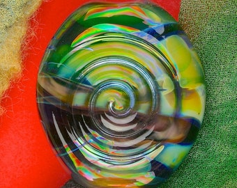 "Handmade Lampwork Bead ""Spiral Spirit Meadow"" SRA Silver Glass Textural Focal Bead ~ OOAK Unique ~ Meadow Shades"