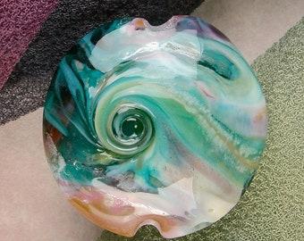 "Handmade Lampwork Glass Beads SRA ""Ocean Breeze"" Lentil Focal Bead ~ Create Unique Jewellery ~ Sea Tones"
