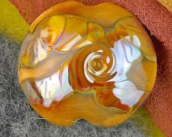"""Handmade Lampwork Beads """"Toasted Caramel"""" SRA Glass Focal Bead Lentil ~ OOAK Textural Organic Silver Glass Lustre ~ Warm Neutrals"""