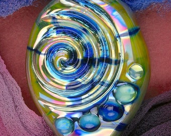 """Handmade Lampwork Beads """"Worry Stone"""" SRA Glass Focal Bead ~ OOAK Textural Organic Silver Glass Lustre ~ True Blue"""