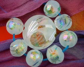 "Lampwork Bead Set ""Lighter Than Air"" Handmade Sandblasted Iridescent Lustre Faceted Dichroic Glass Window Focal Bead & 7 Spheres ~ Sky Aqua"