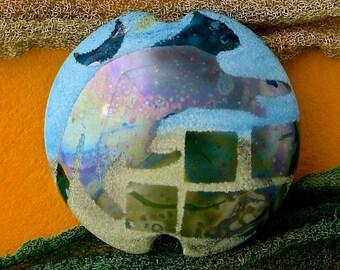 "Handmade Lampwork Glass Bead ""Evening Wanderer"" SRA Sandblasted Focal Bead ~ Iridescent Lustre Cat Bead ~ Meadow Shades"