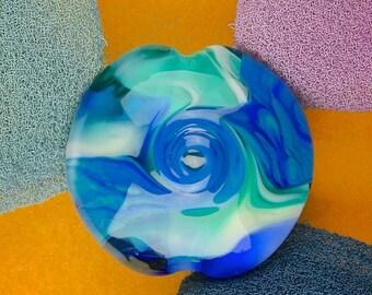 "Handmade Lampwork Glass Beads SRA ""Marine Twist"" Lentil Focal Bead ~ Create Unique Jewellery ~ True Blue"