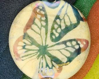 "Lampwork Beads ""Butterfly Wings"" Handmade Sandblasted Glass SRA ~ Watercolour Iridescent Lustre Bead ~ Warm Neutrals"