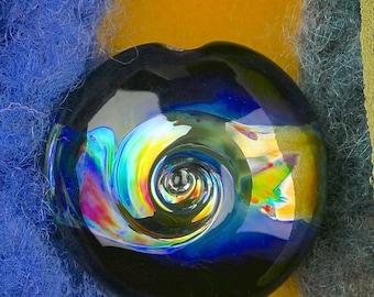 """Handmade Lampwork Beads """"Distant Planet II"""" SRA Glass Focal Bead Lentil ~ OOAK Textural Organic Silver Glass Lustre ~ True Blue"""
