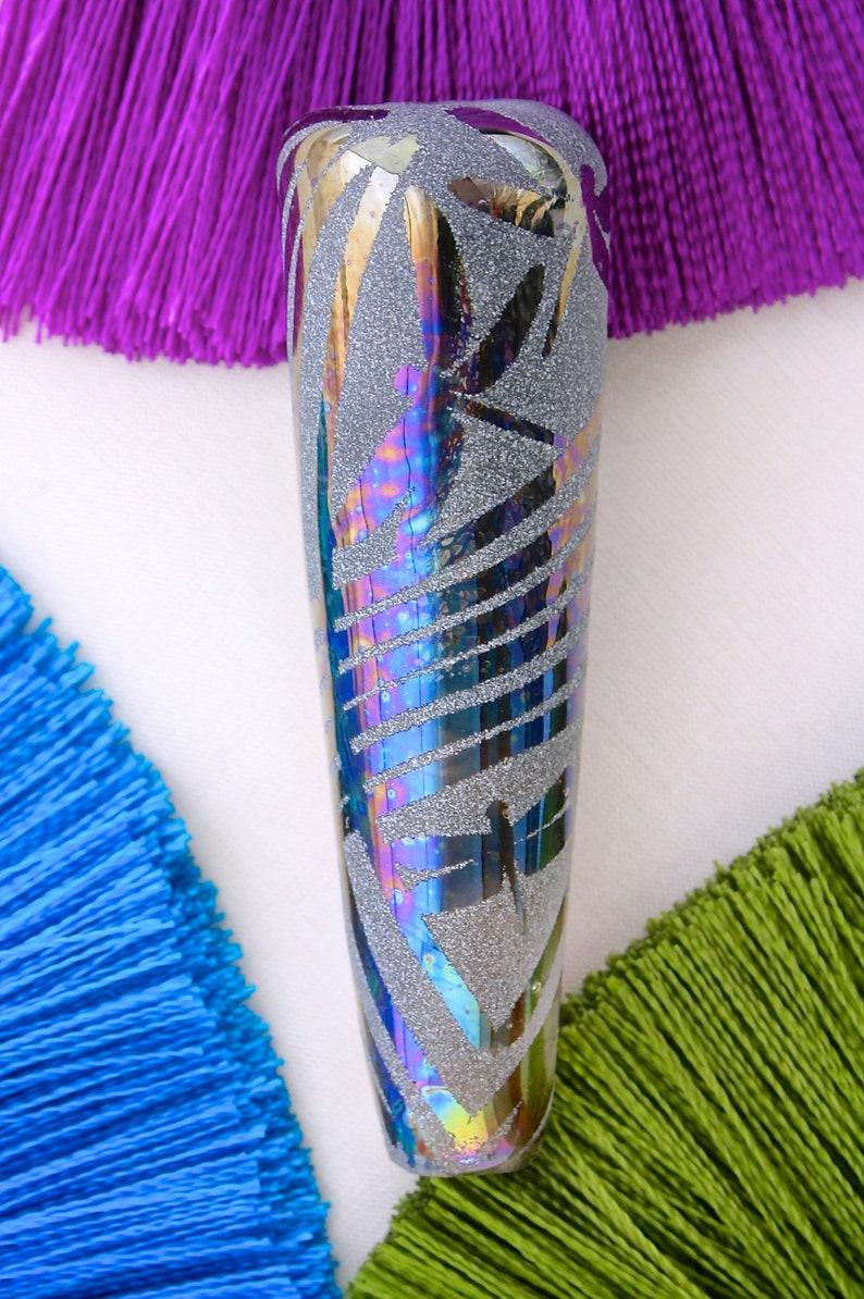 Midnight Dragonfly Shimmer ~ Handmade Lampwork Focal Bead SRA ~ Sandblasted Iridised Glass ~ Iridescent Lustre Cone Nature Necklace Bead