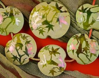 "Lampwork Bead Set of 6 ""Woodland Canopy"" Sandblasted Iridescent Glass Handmade Lentil Beads Set SRA ~ Meadow Shades"