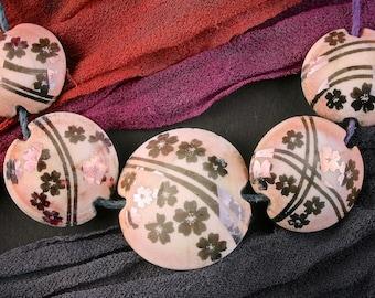 "Lampwork Bead Set of 5 ""Cherry Blossom Shadows"" Sandblasted Iridescent Glass Handmade Lentil Beads SRA Graded Set ~ Pinks & Purples"