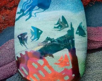 "Lampwork Beads ""Perils of the Deep"" Handmade Sandblasted Glass SRA ~ Watercolour Iridescent Lustre Picture Bead ~ Sea Tones"