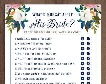 What Did He Say About His Bride Game Yes or No | Printable Bridal Shower Game | DIY Instant Download | Updated Questions