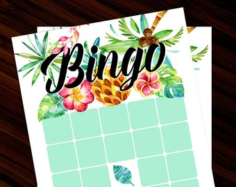 Tropical Bingo Cards 5x7 | Printable Party Games | Instant Download | Tropical Island Summer Beach Bingo Cards