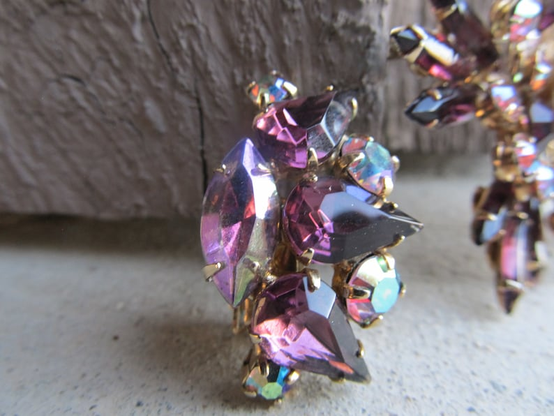 Reg SALE 55.00 Purple Judy Lee Rhinestone Brooch and Married Earrings with Aurora Borealis Accent Rhinestones