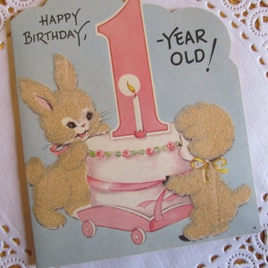 Vintage Baby Card Fuzzy Die Cut Bunny