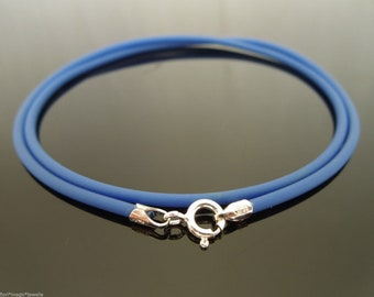 Sterling Silver 16inch 2mm Cobalt Rubber Cord Necklace