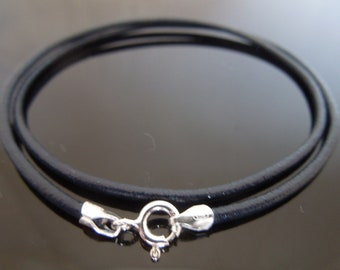 """3mm Blue Braided Leather Sterling Silver Necklace Or Wristband 16/"""" 18/"""" 20/"""" 22/"""""""