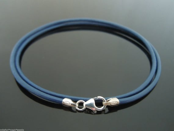 """2mm Red Leather 14/"""" Necklace Or Double Wrap Bracelet With 925 Sterling Silver"""