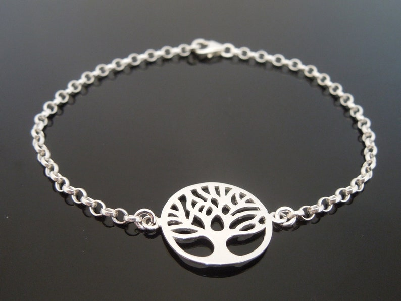 """Sterling Silver Bracelet Or Ankle Chain Anklet Tree Of Life 7/"""" 8/"""" 9/"""" 10/"""" 11/"""" 12/"""""""