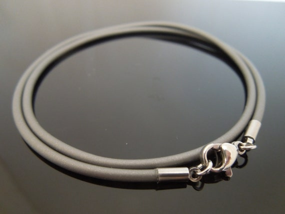 """2mm Light Grey Leather /& Sterling Silver Necklace Or Wristband 16/"""" 18/"""" 20/"""" 22/"""""""