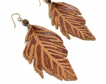 Long Brown Leather Feather Earrings, Double Sided Earrings, Boho Leather Jewelry, Unique Gift for Bohemian Women, Hand painted, Lightweight