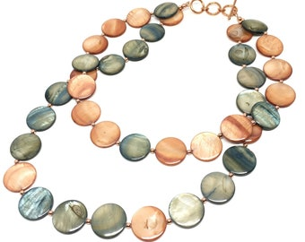 Double Strand Boho Shell Disc Necklace with Copper Accents, Terra Cotta, Burnt Orange, Blue Green, Fall Colors, Bohemian Jewelry, Boho