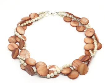 Triple Strand Twisted Shell Necklace in Terra Cotta, Statement Necklace, Boho One of a Kind Necklace, Multi Strand Necklace, Bohemian