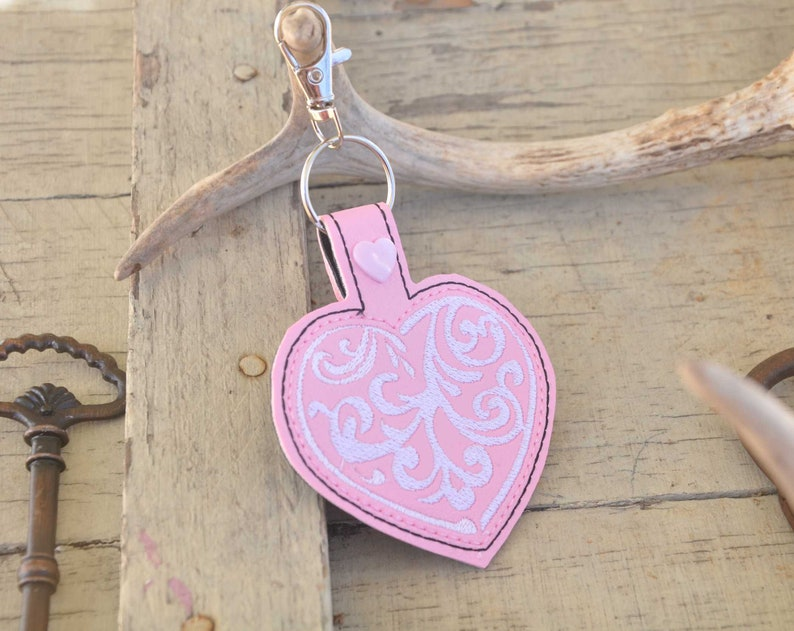 Pink White Filigree embroidered heart key fob keychain