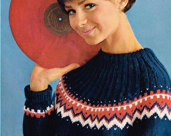Vintage Knitting Pattern - Women's Norwegian Pullover - PDF Download - 60's retro 1960's Ladies Pullover and Touque