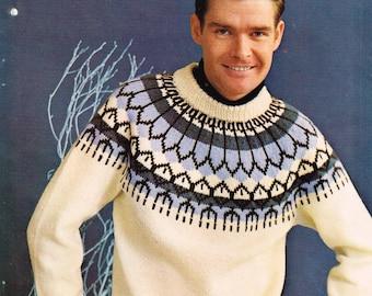 Vintage Knitting Pattern - Men's Yolked Pullover - PDF Download - 60's retro 1960's Men's Sweater