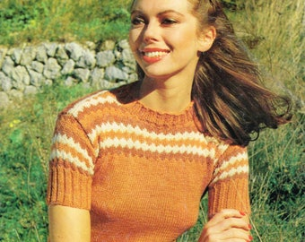 Vintage Knitting Pattern for a Women - Short Sleeve Pullover - PDF Download - 80's Retro 1980s sweater