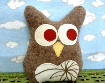 Owl Pillow Plush - Recycled Wool  - Tan Embroidered Owl