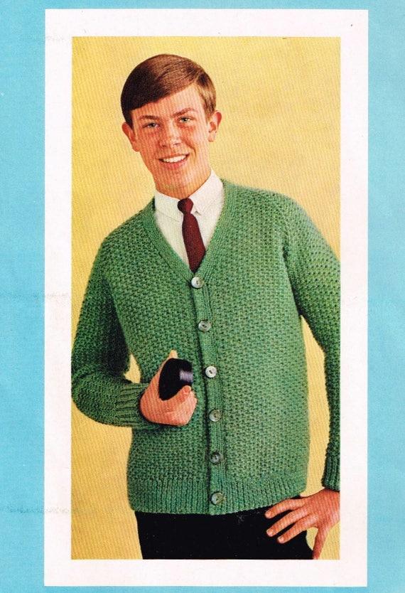 7738f4ce51c72d Vintage Knitting Pattern Boys Raglan Cardigan PDF