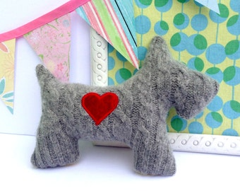 Scottie Dog Pillow Plush - Recycled wool sweater - Eco Friendly - Grey with Red Heart