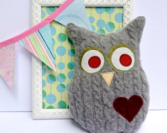 Grey Owl Pillow Plush Home Decor Recycled Wool Sweater owl doll stuffed